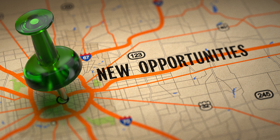 New Opportunities Green Pushpin On A Map Background