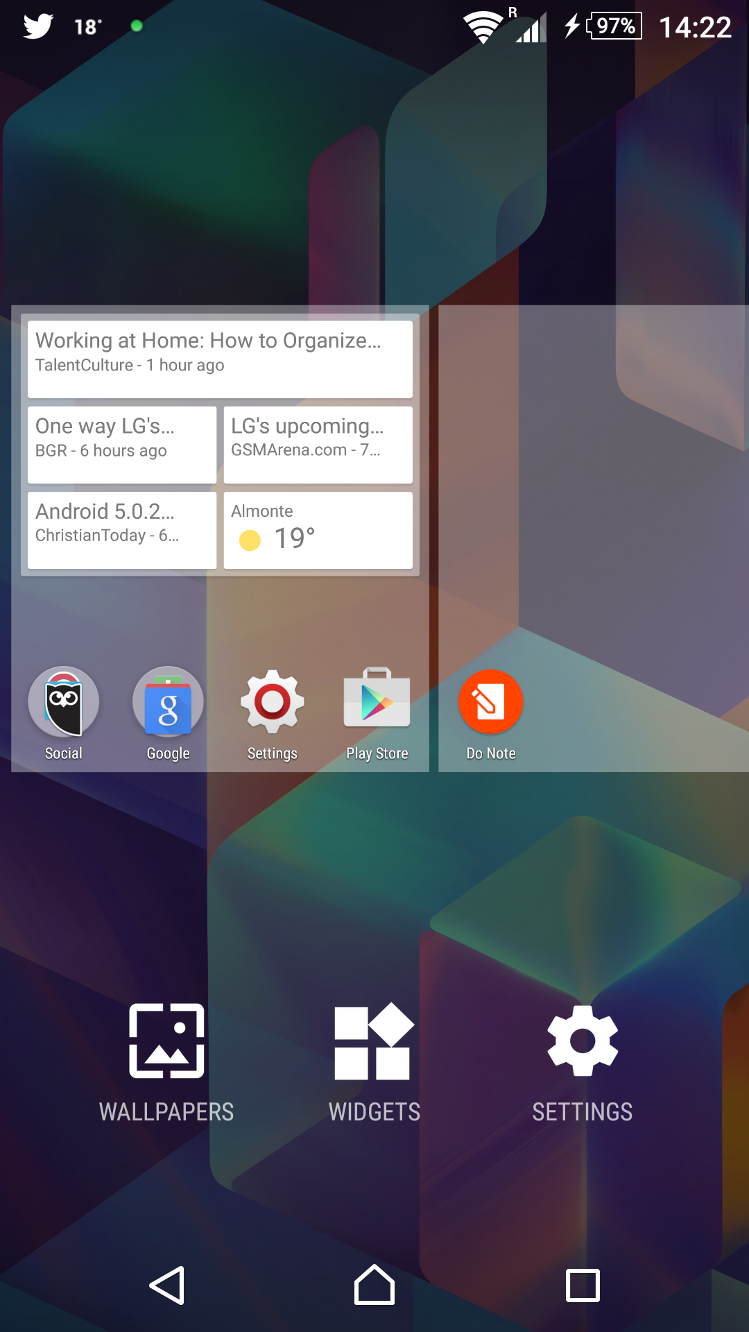 sony xperia z3 screenshot of wallpaper and widgets icons