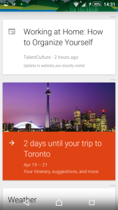 Sony Xperia Z3 screenshot of Google Now Cards