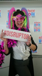 Chantal dressed up in a funny disguise as a disruptor at the Reivent Work Summit