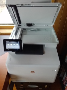 HP Color LaserJet Pro Printer with Scanner lid open
