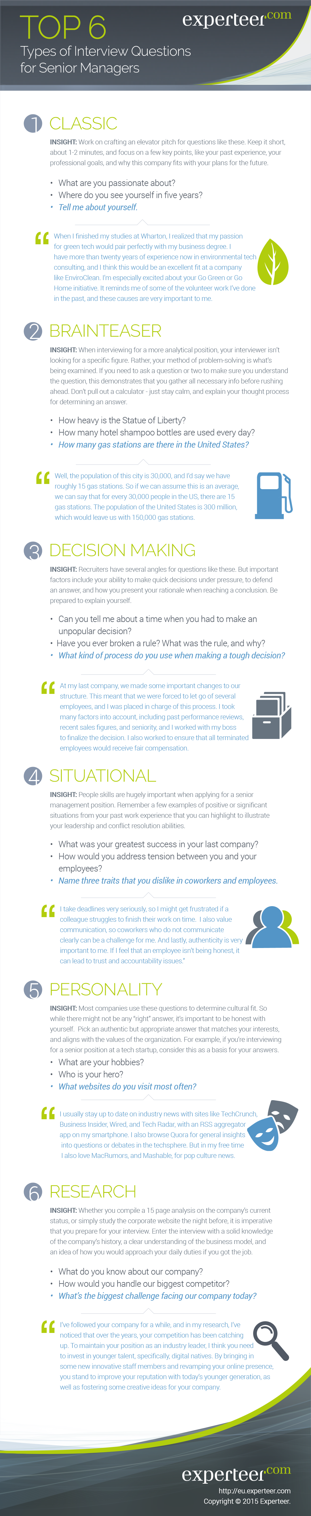 infographic the top types of interview questions for senior infographic the top 6 types of interview questions for senior managers