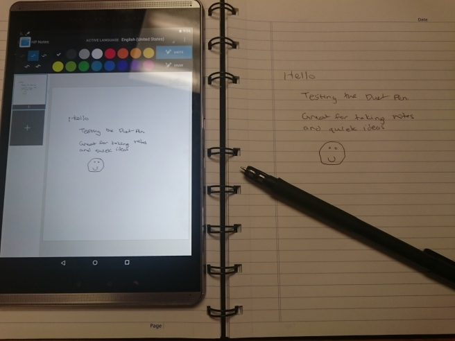 HP Pro Slate 8 Review - Business Tabley, Using the Duet Pen with Paper