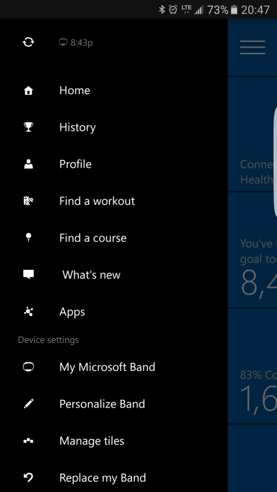 Microsoft Health App Main Menu