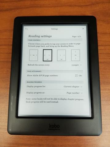 Review Kobo Glo HD Reading Settings