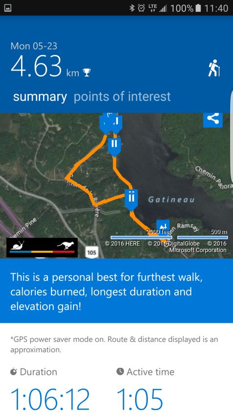 Microsoft Band 2: Explore Tile Map of Hike