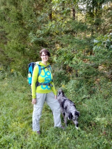 Me in the woods with my Deuter Backpack